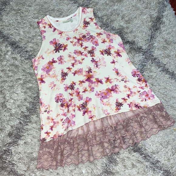 LOGO LOUNGE Floral sleeveless tunic top sz L